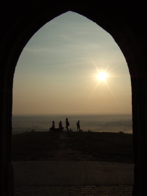 Greeting the Dawn on Glastonbury Tor.