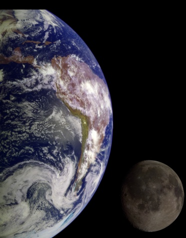 Earth and Moon - Hubble images