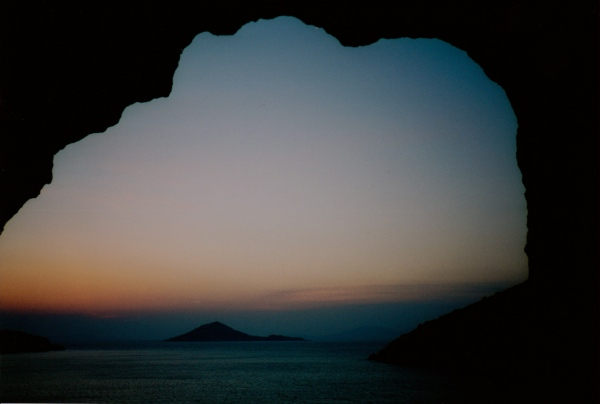 The mouth of a cave on the Island of Patmos at dawn